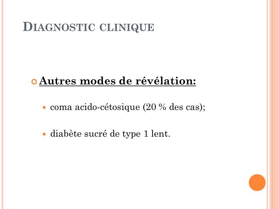 D IAGNOSTIC CLINIQUE Autres modes de révélation: coma acido-cétosique (20 % des cas); diabète sucré de type 1 lent.