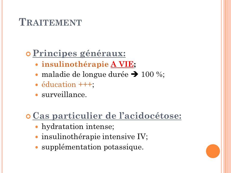 T RAITEMENT Principes généraux: insulinothérapie A VIE; maladie de longue durée 100 %; éducation +++; surveillance. Cas particulier de lacidocétose: h