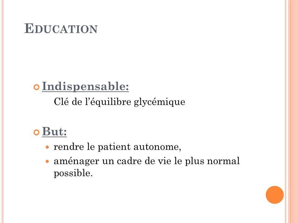 E DUCATION Indispensable: Clé de léquilibre glycémique But: rendre le patient autonome, aménager un cadre de vie le plus normal possible.