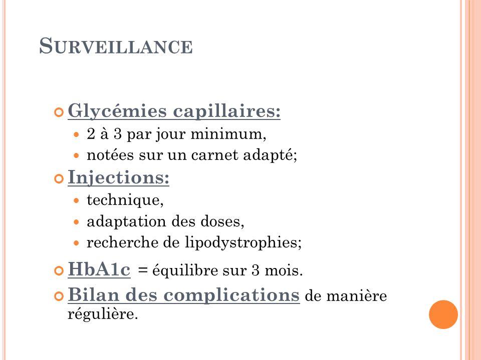S URVEILLANCE Glycémies capillaires: 2 à 3 par jour minimum, notées sur un carnet adapté; Injections: technique, adaptation des doses, recherche de li