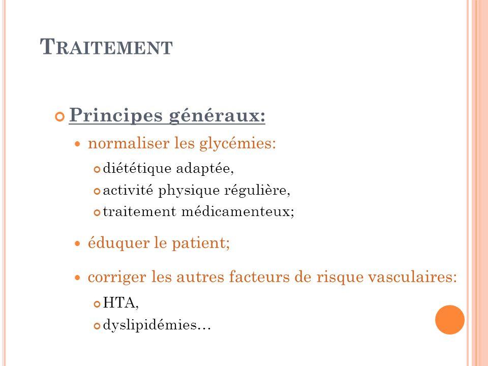 T RAITEMENT Principes généraux: normaliser les glycémies: diététique adaptée, activité physique régulière, traitement médicamenteux; éduquer le patien