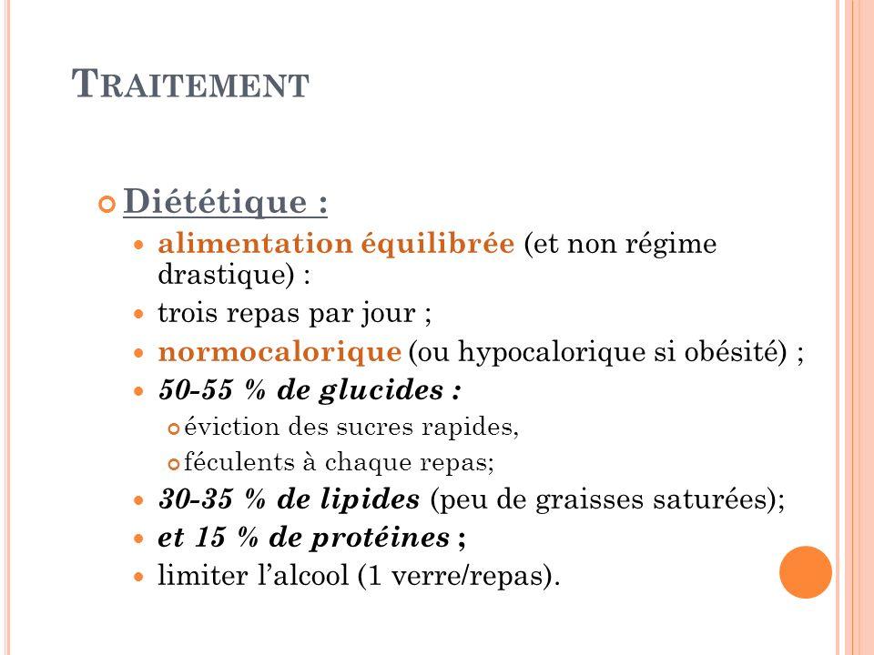 T RAITEMENT Diététique : alimentation équilibrée (et non régime drastique) : trois repas par jour ; normocalorique (ou hypocalorique si obésité) ; 50-
