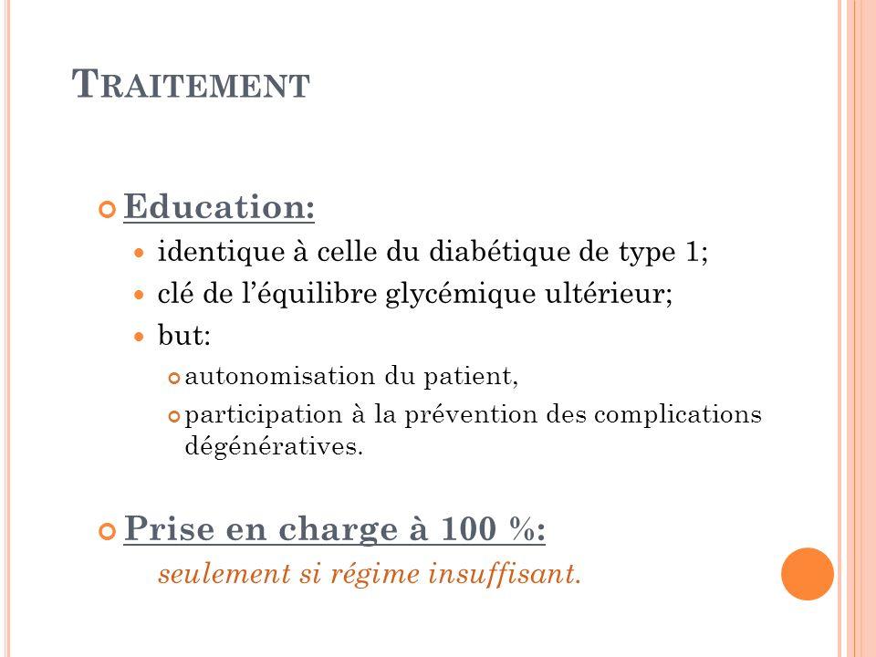 T RAITEMENT Education: identique à celle du diabétique de type 1; clé de léquilibre glycémique ultérieur; but: autonomisation du patient, participatio