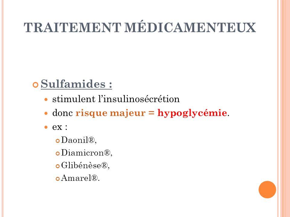 TRAITEMENT MÉDICAMENTEUX Sulfamides : stimulent linsulinosécrétion donc risque majeur = hypoglycémie. ex : Daonil®, Diamicron®, Glibénèse®, Amarel®.