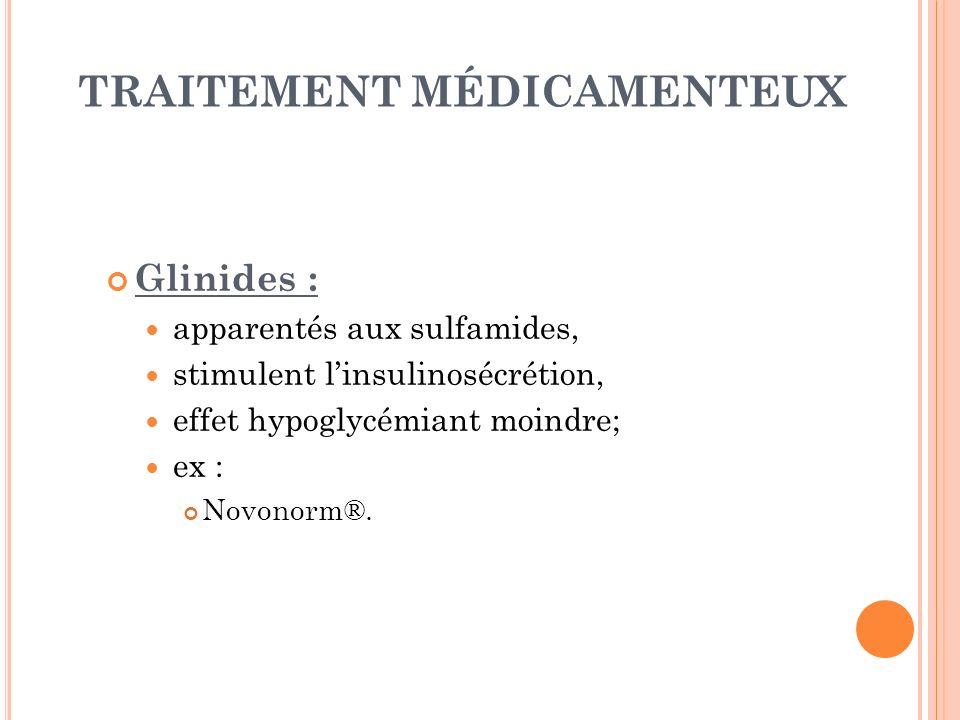 TRAITEMENT MÉDICAMENTEUX Glinides : apparentés aux sulfamides, stimulent linsulinosécrétion, effet hypoglycémiant moindre; ex : Novonorm®.