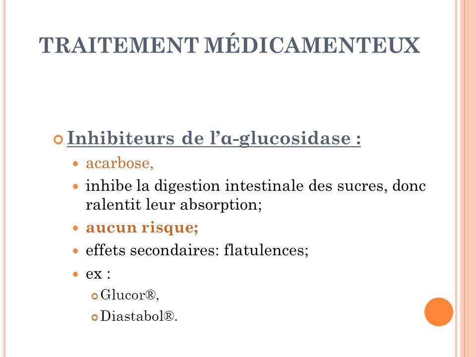 TRAITEMENT MÉDICAMENTEUX Inhibiteurs de lα-glucosidase : acarbose, inhibe la digestion intestinale des sucres, donc ralentit leur absorption; aucun ri
