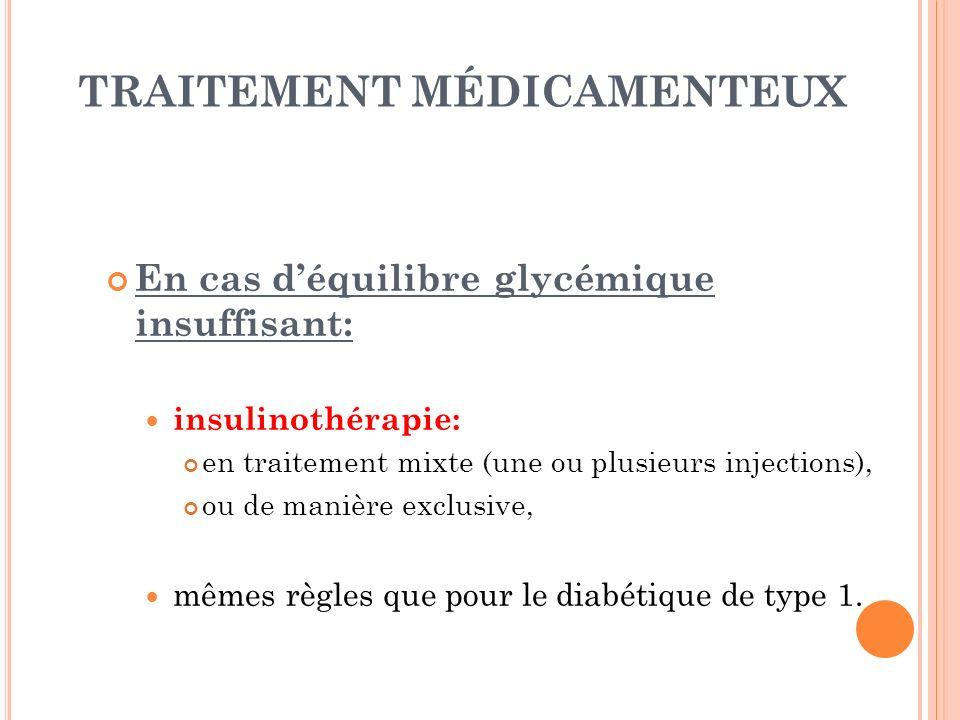 TRAITEMENT MÉDICAMENTEUX En cas déquilibre glycémique insuffisant: insulinothérapie: en traitement mixte (une ou plusieurs injections), ou de manière