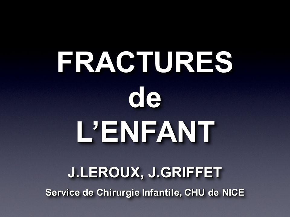 FRACTURESdeLENFANTFRACTURESdeLENFANT J.LEROUX, J.GRIFFET Service de Chirurgie Infantile, CHU de NICE