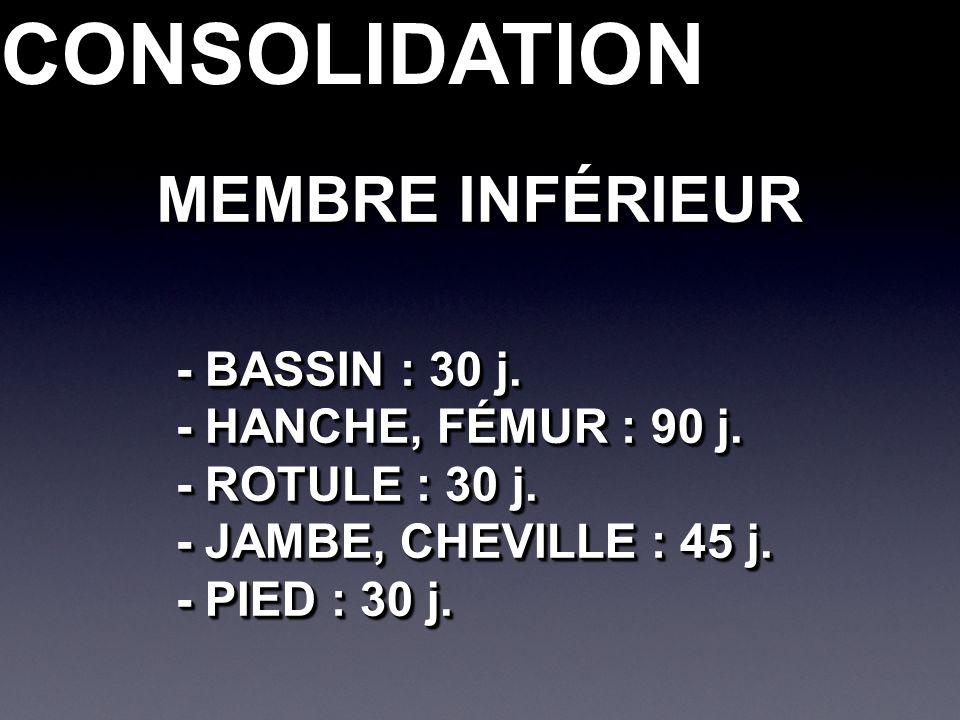 CONSOLIDATIONCONSOLIDATION - BASSIN : 30 j. - HANCHE, FÉMUR : 90 j. - ROTULE : 30 j. - JAMBE, CHEVILLE : 45 j. - PIED : 30 j. - BASSIN : 30 j. - HANCH