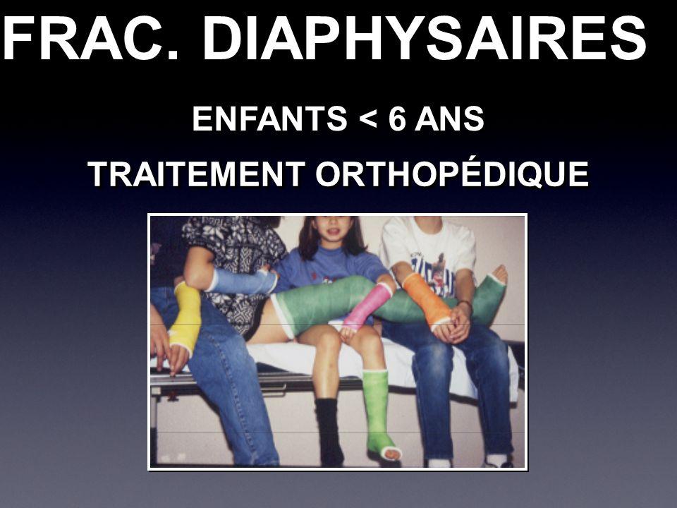 FRAC. DIAPHYSAIRES ENFANTS < 6 ANS TRAITEMENT ORTHOPÉDIQUE