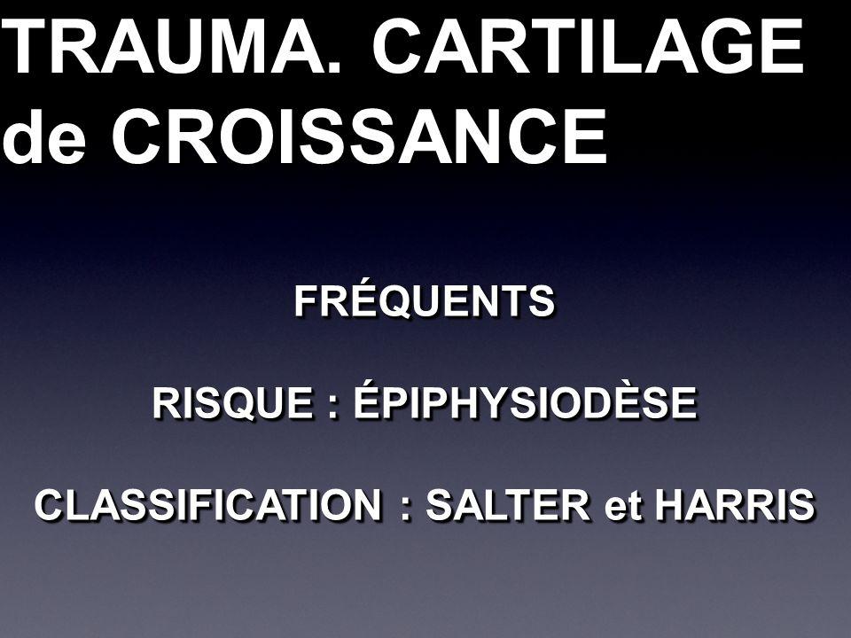 TRAUMA. CARTILAGE de CROISSANCE TRAUMA. CARTILAGE de CROISSANCE FRÉQUENTS RISQUE : ÉPIPHYSIODÈSE CLASSIFICATION : SALTER et HARRIS FRÉQUENTS RISQUE :