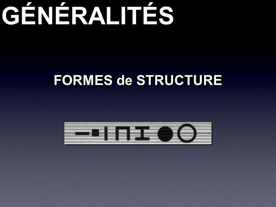 GÉNÉRALITÉSGÉNÉRALITÉS FORMES de STRUCTURE