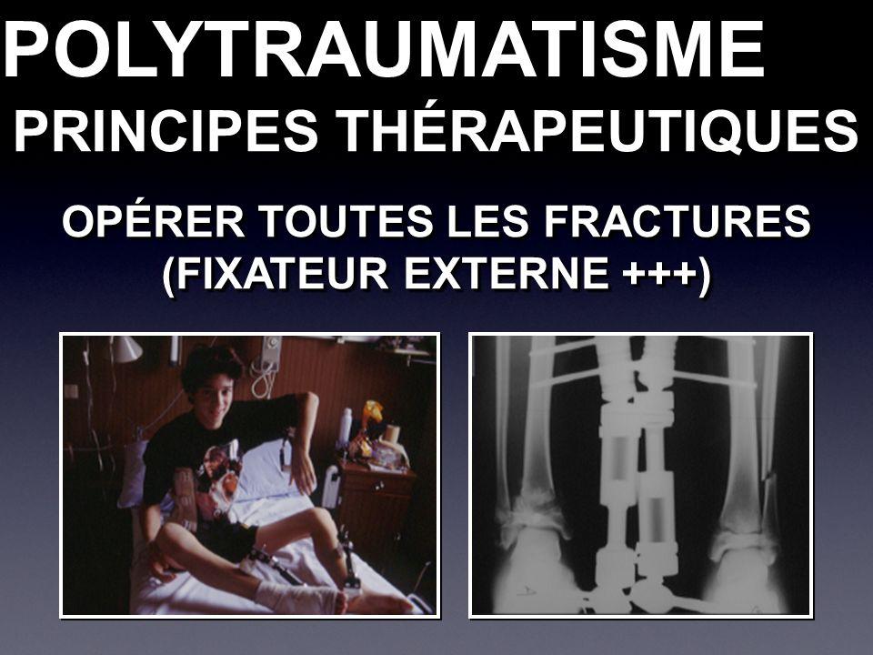 PRINCIPES THÉRAPEUTIQUES POLYTRAUMATISMEPOLYTRAUMATISME OPÉRER TOUTES LES FRACTURES (FIXATEUR EXTERNE +++) OPÉRER TOUTES LES FRACTURES (FIXATEUR EXTERNE +++)