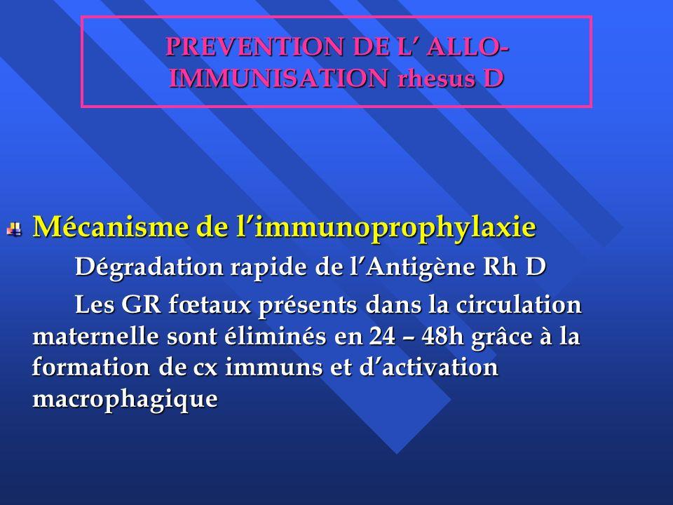 PREVENTION DE L ALLO- IMMUNISATION rhesus D Mécanisme de limmunoprophylaxie Dégradation rapide de lAntigène Rh D Les GR fœtaux présents dans la circul