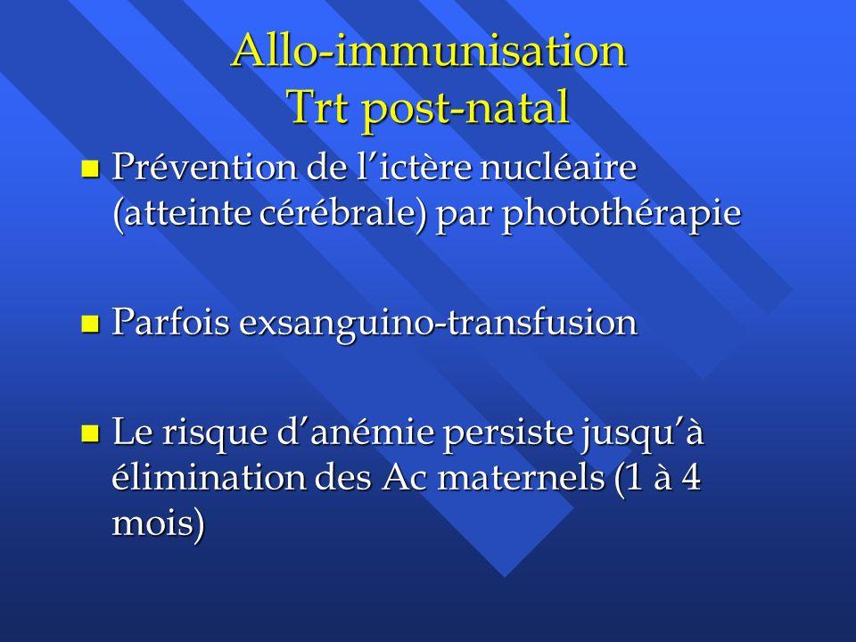 Allo-immunisation Trt post-natal n Prévention de lictère nucléaire (atteinte cérébrale) par photothérapie n Parfois exsanguino-transfusion n Le risque