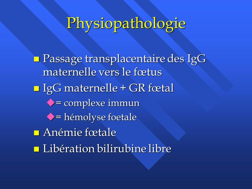 Physiopathologie n Passage transplacentaire des IgG maternelle vers le fœtus n IgG maternelle + GR fœtal u= complexe immun u= hémolyse foetale n Anémi