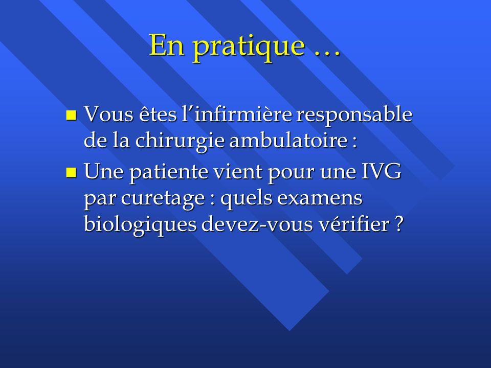 En pratique … n Vous êtes linfirmière responsable de la chirurgie ambulatoire : n Une patiente vient pour une IVG par curetage : quels examens biologi