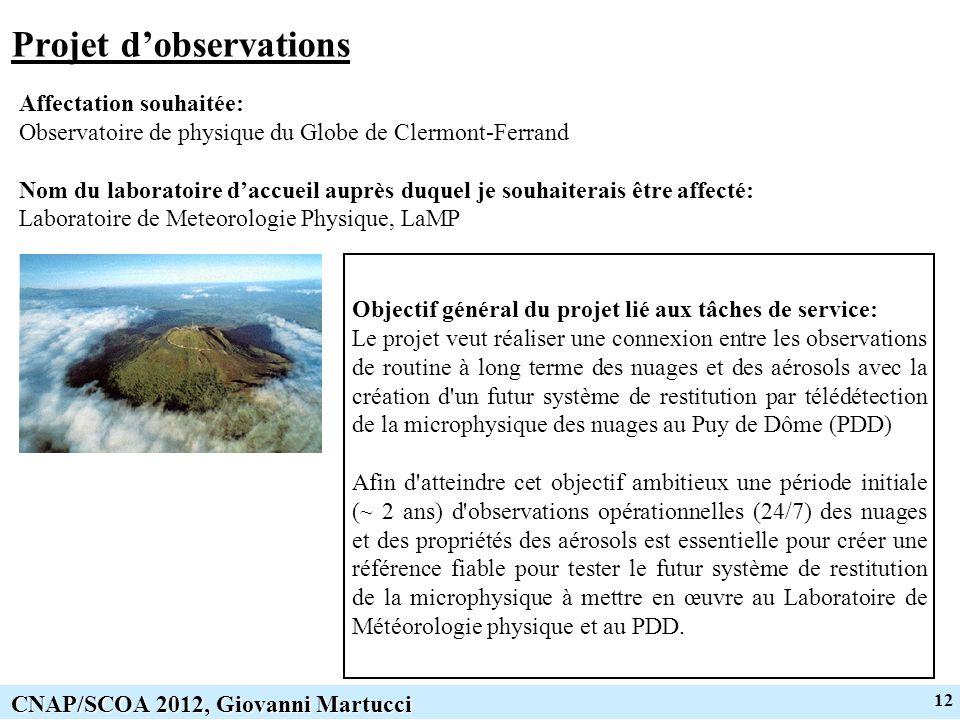 12 CNAP/SCOA 2012, Giovanni Martucci Projet dobservations Affectation souhaitée: Observatoire de physique du Globe de Clermont-Ferrand Nom du laborato