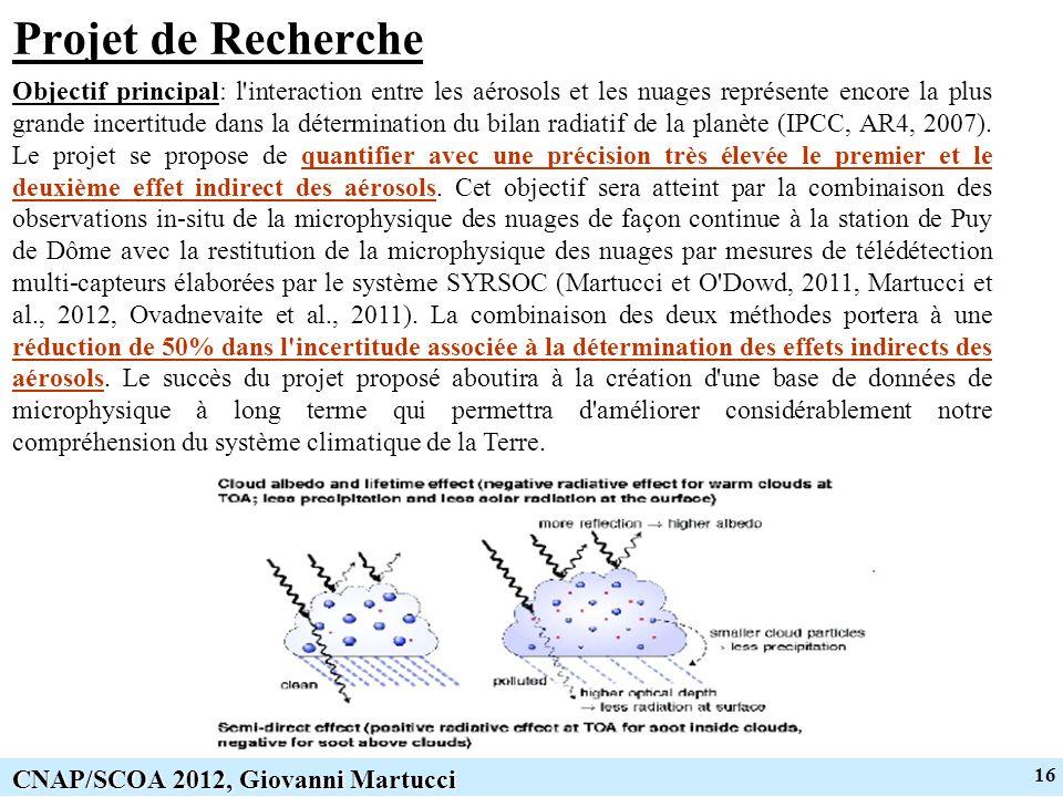 16 CNAP/SCOA 2012, Giovanni Martucci Projet de Recherche Objectif principal: l interaction entre les aérosols et les nuages représente encore la plus grande incertitude dans la détermination du bilan radiatif de la planète (IPCC, AR4, 2007).