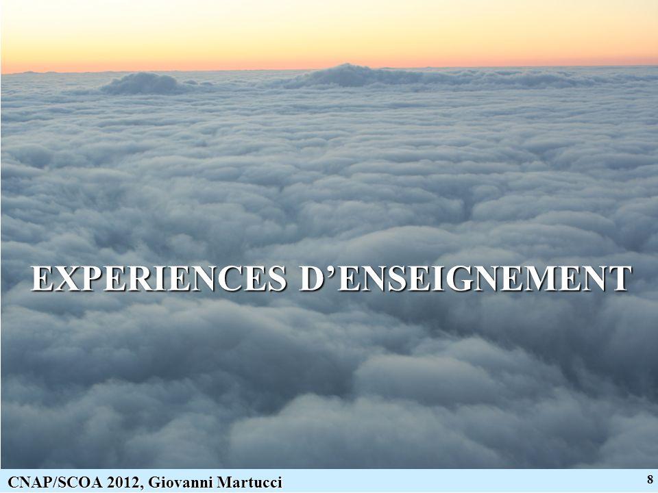 9 CNAP/SCOA 2012, Giovanni Martucci Expériences denseignement Deux domaines denseignement principaux… Physique fondamentale (thermodynamique, physique générale) Remote Sensing (par LIDAR, RADAR et Radiomètre)