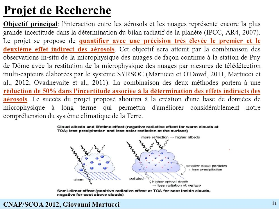 11 CNAP/SCOA 2012, Giovanni Martucci Projet de Recherche Objectif principal: l interaction entre les aérosols et les nuages représente encore la plus grande incertitude dans la détermination du bilan radiatif de la planète (IPCC, AR4, 2007).