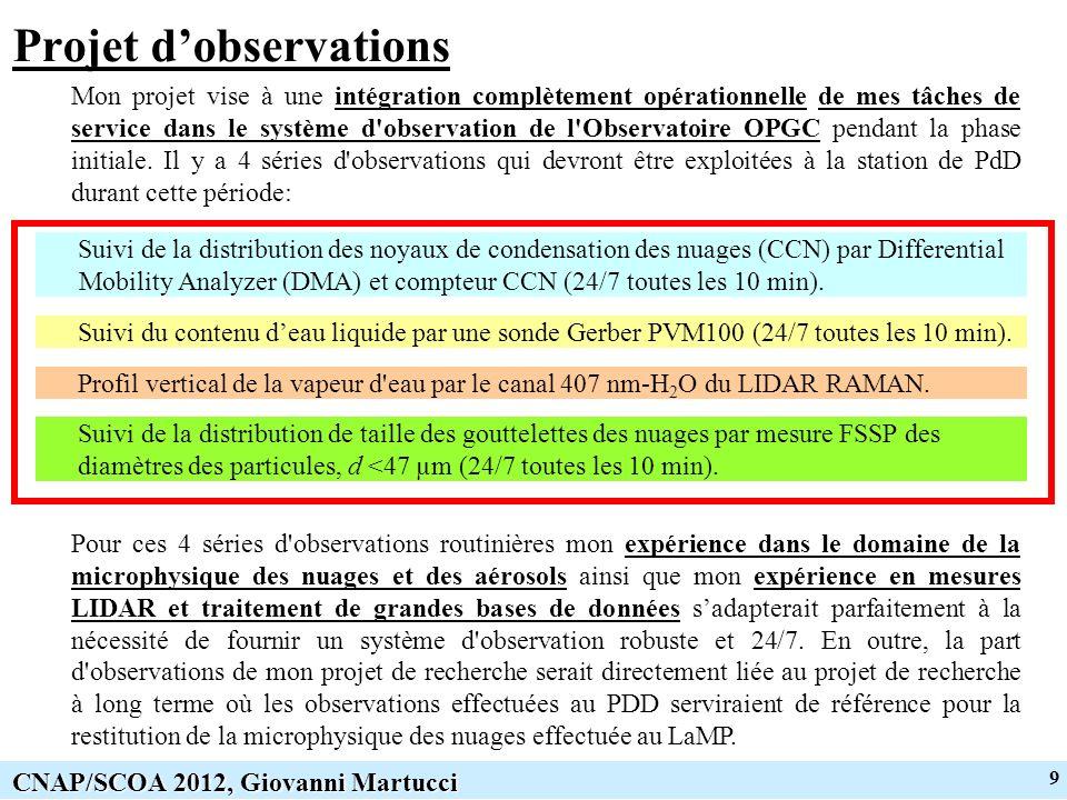 9 CNAP/SCOA 2012, Giovanni Martucci Projet dobservations Mon projet vise à une intégration complètement opérationnelle de mes tâches de service dans le système d observation de l Observatoire OPGC pendant la phase initiale.