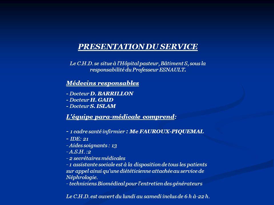 PRESENTATION DU SERVICE Le C.H.D. se situe à l'Hôpital pasteur, Bâtiment S, sous la responsabilité du Professeur ESNAULT. Médecins responsables Docteu