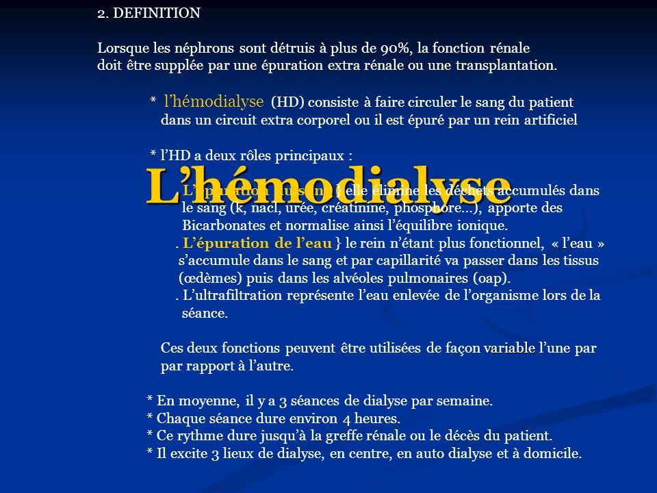 Lhémodialyse 2. DEFINITION Lorsque les néphrons sont détruis à plus de 90%, la fonction rénale doit être supplée par une épuration extra rénale ou une