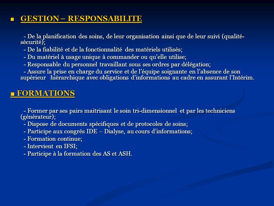 GESTION – RESPONSABILITE GESTION – RESPONSABILITE - De la planification des soins, de leur organisation ainsi que de leur suivi (qualité- sécurité); -