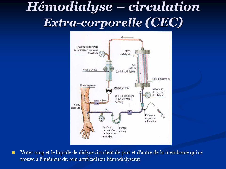 Hémodialyse – circulation Extra-corporelle (CEC) Voter sang et le liquide de dialyse circulent de part et dautre de la membrane qui se trouve à lintérieur du rein artificiel (ou hémodialyseur)