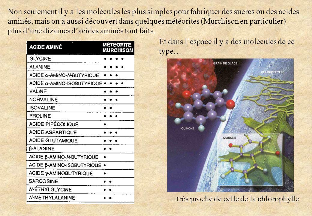 Et dans lespace il y a des molécules de ce type… …très proche de celle de la chlorophylle Non seulement il y a les molécules les plus simples pour fab