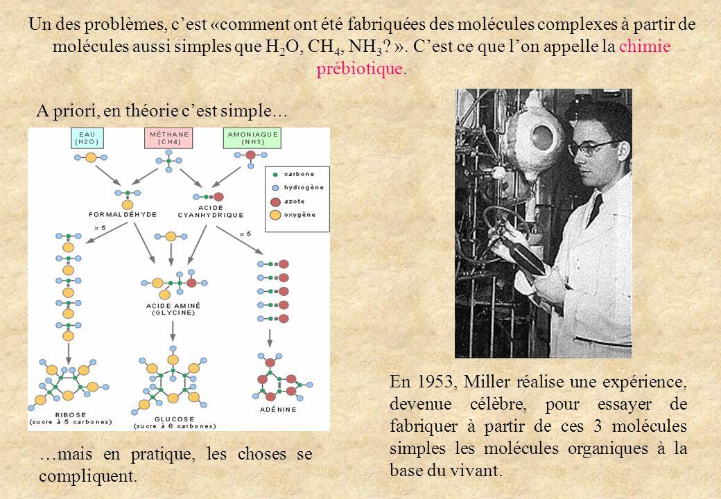 Un des problèmes, cest «comment ont été fabriquées des molécules complexes à partir de molécules aussi simples que H 2 O, CH 4, NH 3 ? ». Cest ce que