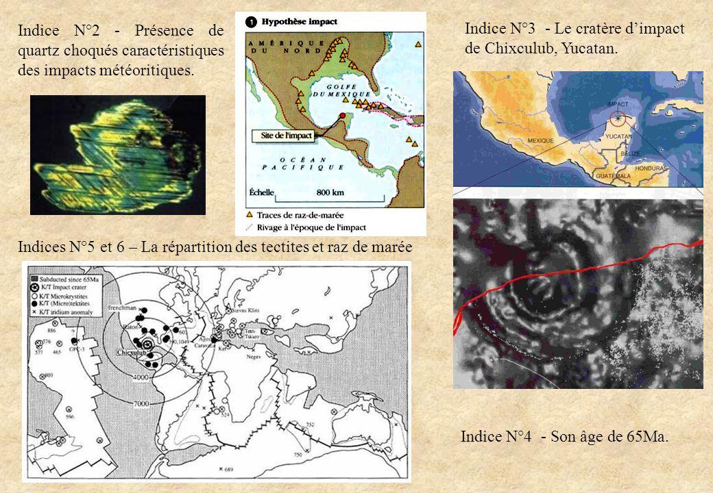 Indice N°2 - Présence de quartz choqués caractéristiques des impacts météoritiques. Indice N°3 - Le cratère dimpact de Chixculub, Yucatan. Indice N°4