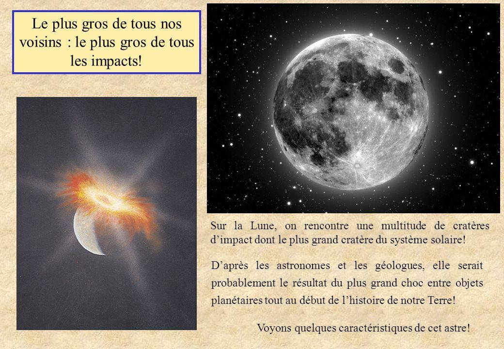 Le plus gros de tous nos voisins : le plus gros de tous les impacts! Sur la Lune, on rencontre une multitude de cratères dimpact dont le plus grand cr