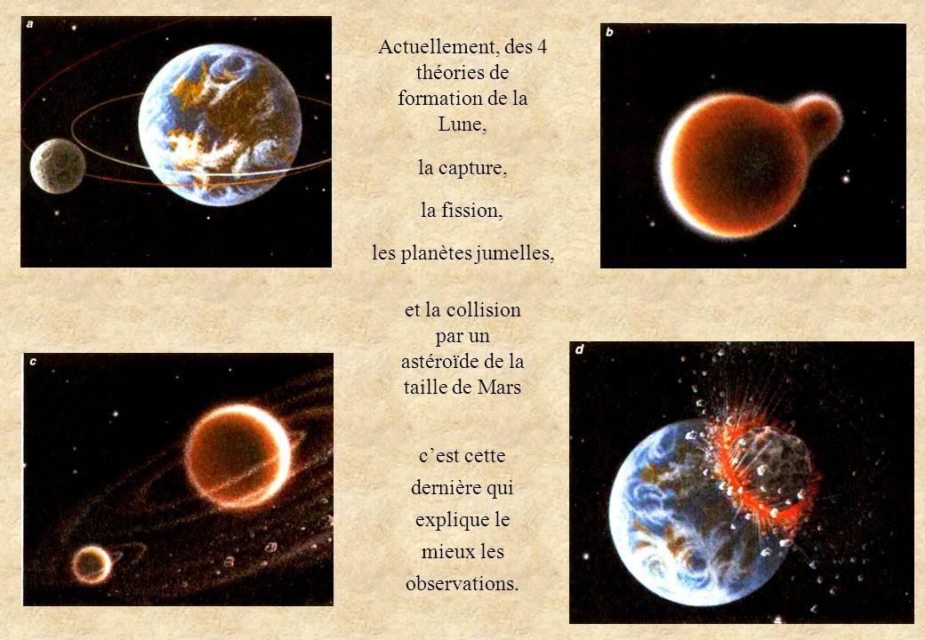Actuellement, des 4 théories de formation de la Lune, la capture, la fission, les planètes jumelles, cest cette dernière qui explique le mieux les obs