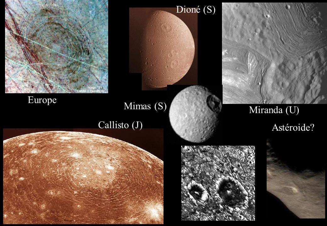 Europe Miranda (U) Callisto (J) Astéroide? Mimas (S) Dioné (S)