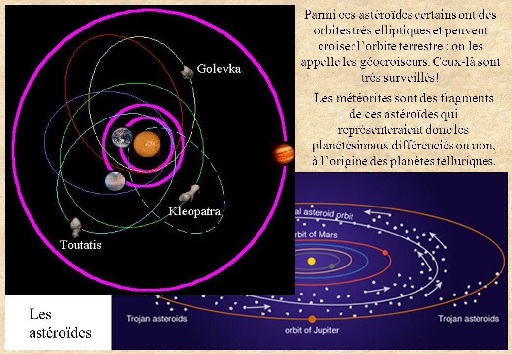 Les météorites sont des fragments de ces astéroïdes qui représenteraient donc les planétésimaux différenciés ou non, à lorigine des planètes telluriqu