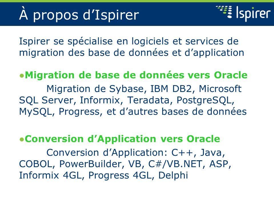 À propos dIspirer Ispirer se spécialise en logiciels et services de migration des base de données et dapplication Migration de base de données vers Or