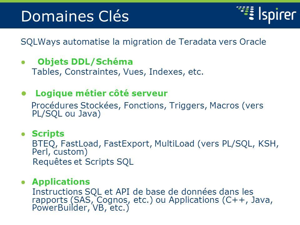 Domaines Clés SQLWays automatise la migration de Teradata vers Oracle Objets DDL/Schéma Tables, Constraintes, Vues, Indexes, etc. Logique métier côté