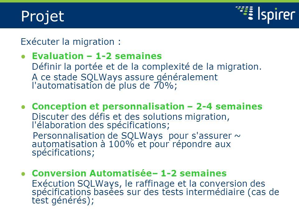 Projet Exécuter la migration : Evaluation – 1-2 semaines Définir la portée et de la complexité de la migration. A ce stade SQLWays assure généralement