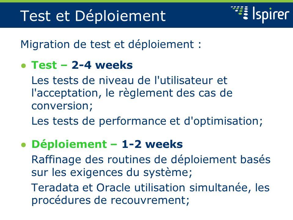 Test et Déploiement Migration de test et déploiement : Test – 2-4 weeks Les tests de niveau de l'utilisateur et l'acceptation, le règlement des cas de