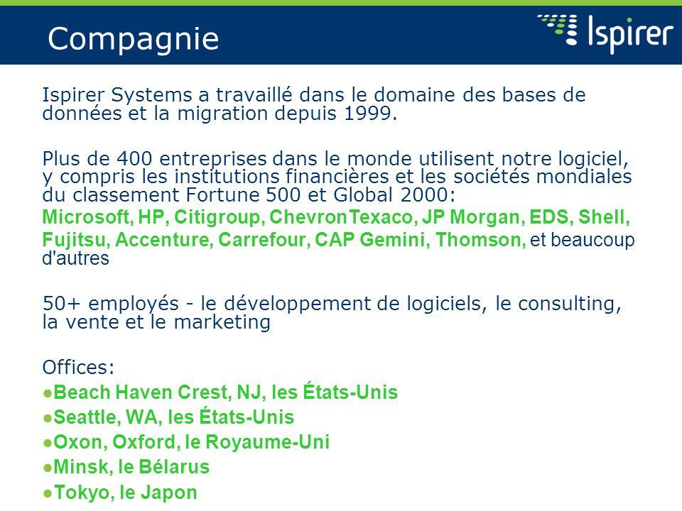 Compagnie Ispirer Systems a travaillé dans le domaine des bases de données et la migration depuis 1999. Plus de 400 entreprises dans le monde utilisen
