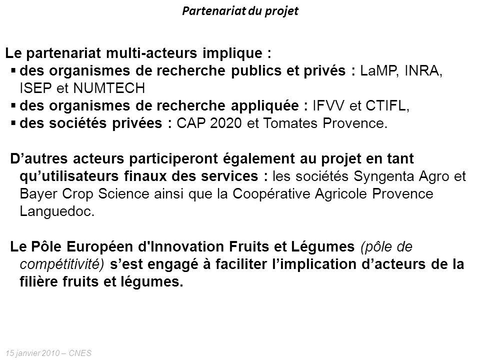 15 janvier 2010 – CNES Partenariat du projet Le partenariat multi-acteurs implique : des organismes de recherche publics et privés : LaMP, INRA, ISEP