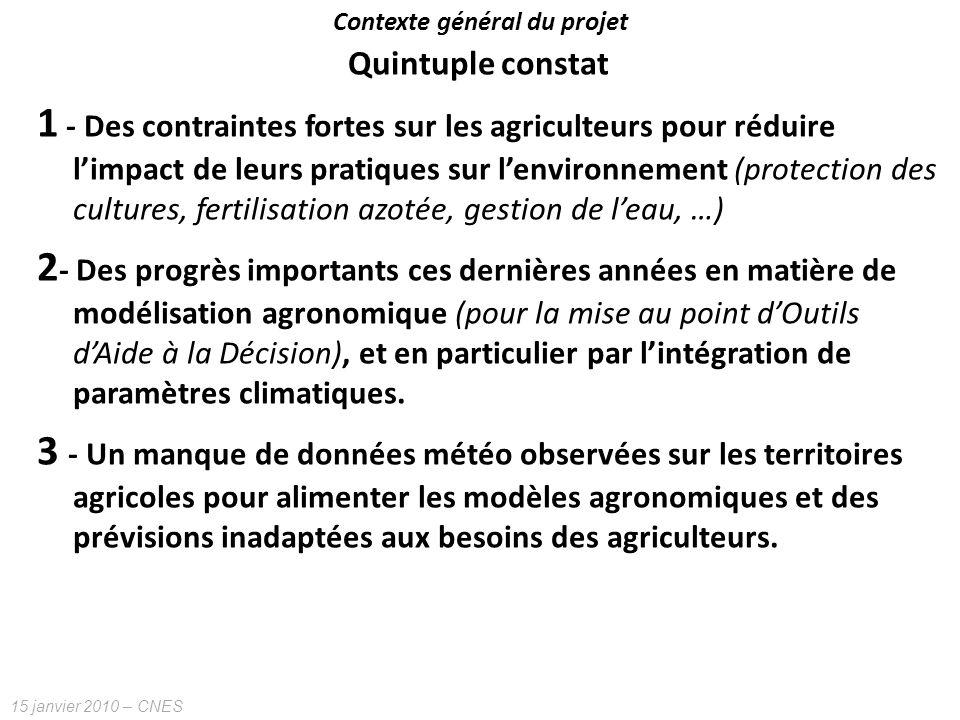15 janvier 2010 – CNES Quintuple constat 1 - Des contraintes fortes sur les agriculteurs pour réduire limpact de leurs pratiques sur lenvironnement (p