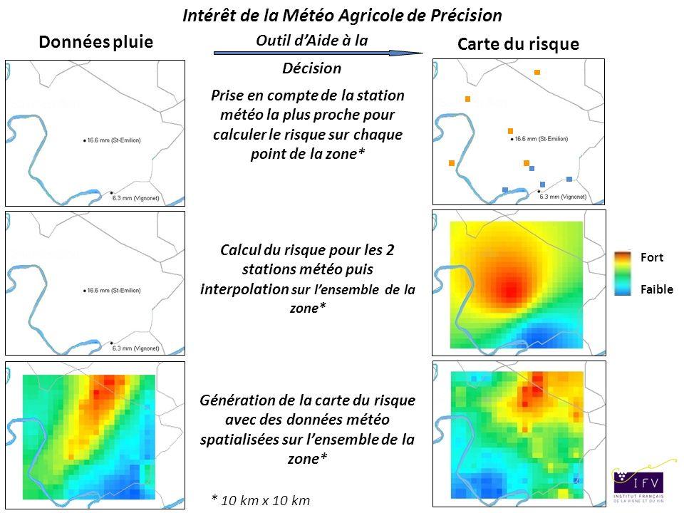 15 janvier 2010 – CNES Outil dAide à la Décision Cartographie du risque de développement du mildiou sur vigne Carte du risque Données pluie Fort Faibl
