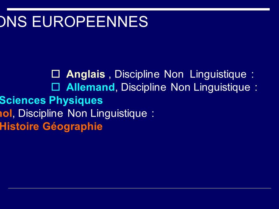 SECTIONS EUROPEENNES Anglais, Discipline Non Linguistique : Mathématiques Allemand, Discipline Non Linguistique : Sciences Physiques Espagnol, Discipl