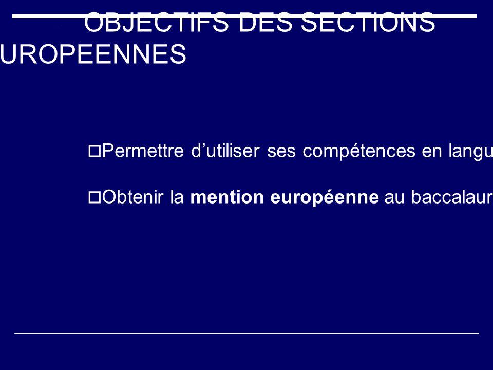 OBJECTIFS DES SECTIONS EUROPEENNES Permettre dutiliser ses compétences en langues vivantes dans le cadre dune autre discipline Obtenir la mention euro