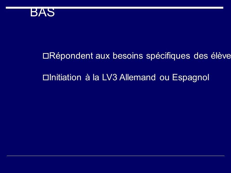 BAS Répondent aux besoins spécifiques des élèves : révisions, consolidation, approfondissement. Initiation à la LV3 Allemand ou Espagnol