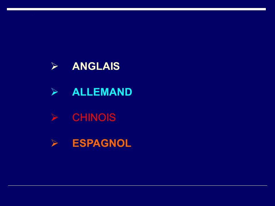 ANGLAIS ALLEMAND CHINOIS ESPAGNOL