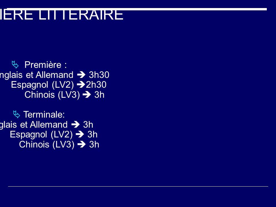 FILIERE LITTERAIRE Première : Anglais et Allemand 3h30 Espagnol (LV2) 2h30 Chinois (LV3) 3h Terminale: Anglais et Allemand 3h Espagnol (LV2) 3h Chinoi